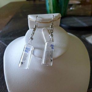 Absolute vodka bottle earrings